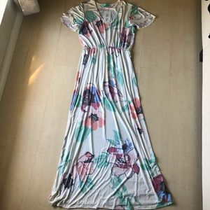 NWT filly flair white floral maxi dress L